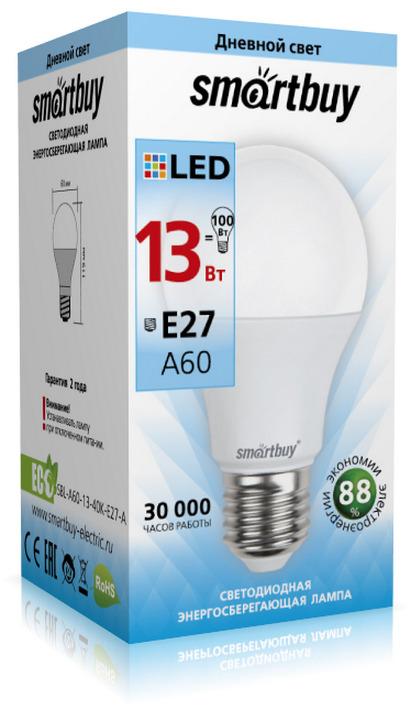 Лампочка SmartBuy SBL-A60-13-40K-E27-A, Дневной свет 13 Вт, Светодиодная