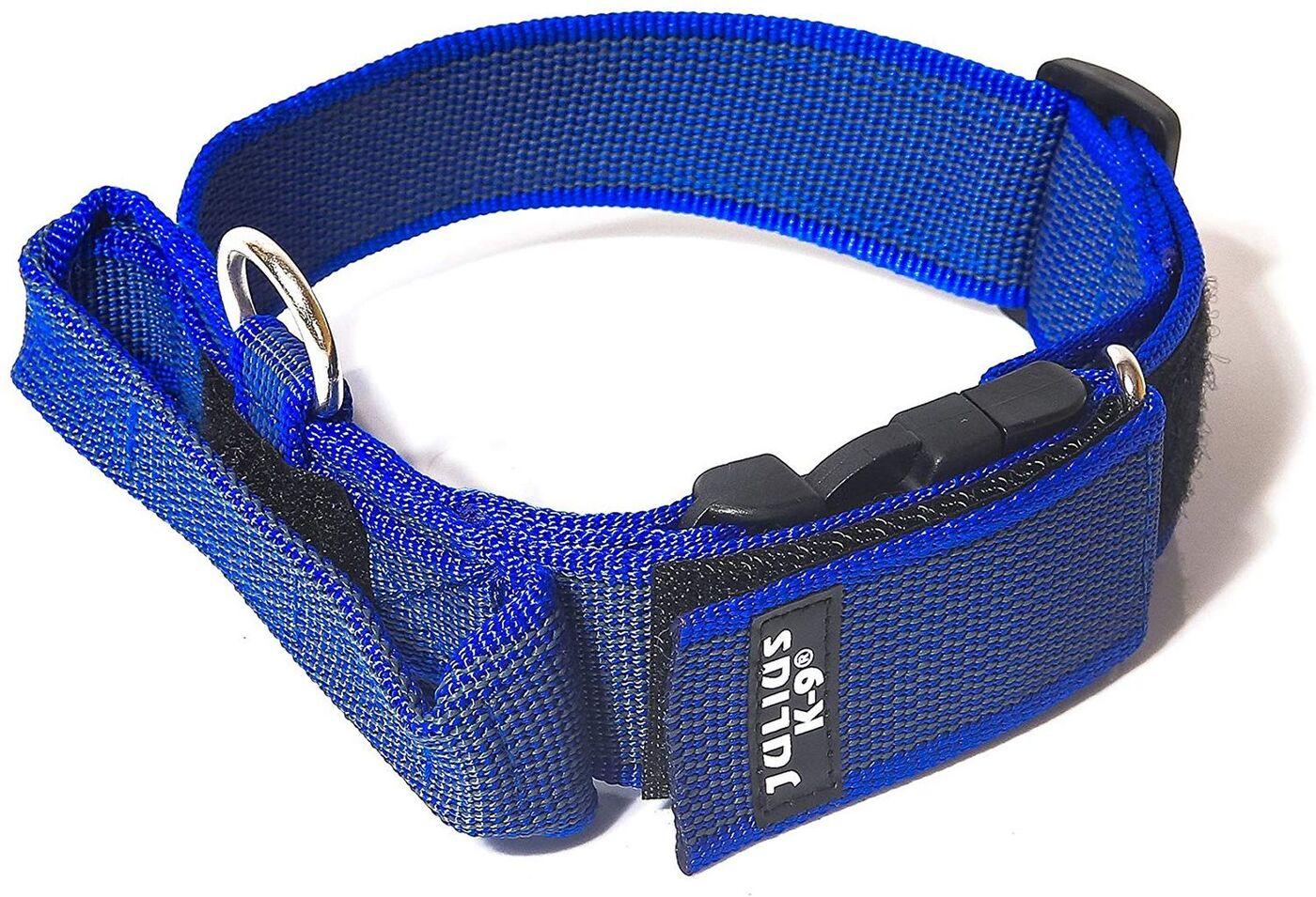 Ошейник для собак Julius-K9 Color & Gray, с закрытой ручкой, синий, серый, 38-53 см