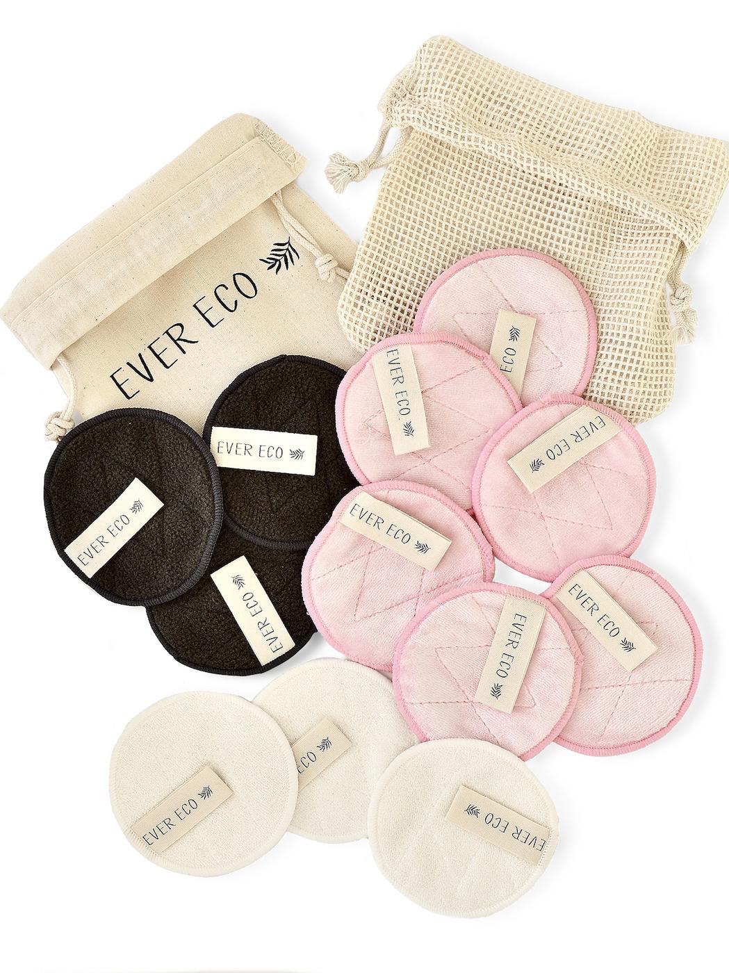 Органические бамбуковые спонжи (диски) для умывания и демакияжа, многоразового использования, 12 шт, мешочек для хранения 1 шт, мешочек для стирки 1 шт