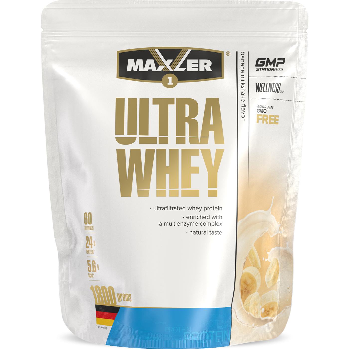 Протеин сывороточный Maxler Ultra Whey 1800 гр. - Банановый молочный коктейль