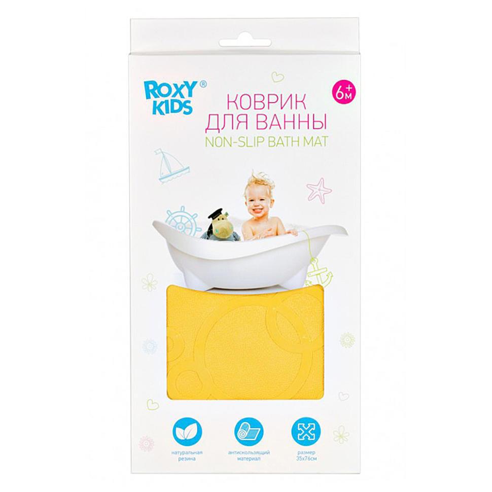 Roxy-kids Коврик резиновый антискользящий для ванны 35x76см, желтый.  #1