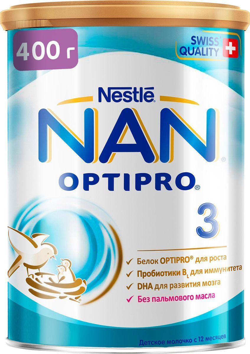 Молочко NAN 3 OPTIPRO для роста, иммунитета и развития мозга, с 12 месяцев, 400 г  #1