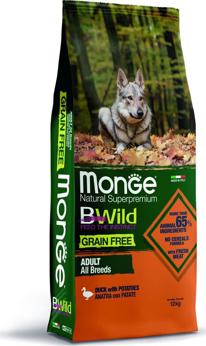 """Корм сухой Monge """"Dog BWild Grain Free"""" беззерновой корм из мяса утки с картофелем, для взрослых собак #1"""