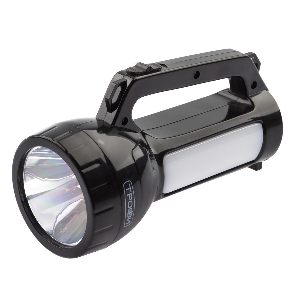 Фонарь прожектор Трофи PA-504 / фонарик светодиодный аккумуляторный мощный / фонарь кемпинговый, с боковым #1