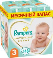 Подгузники Pampers Premium Care, 6-10 кг, размер 3, 148 шт. Наши лучшие предложения
