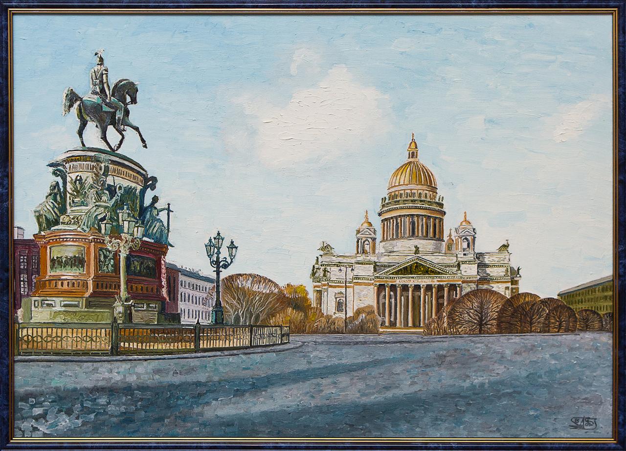 Картина маслом Исаакий и Николай I Винокуров картина маслом каменный остров винокуров