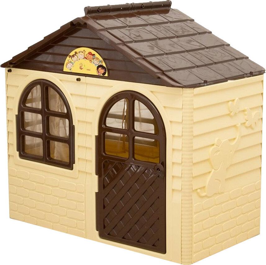 Игровой домик с карнизами и шторками, бежево-коричневый, 69х129 см, Doloni