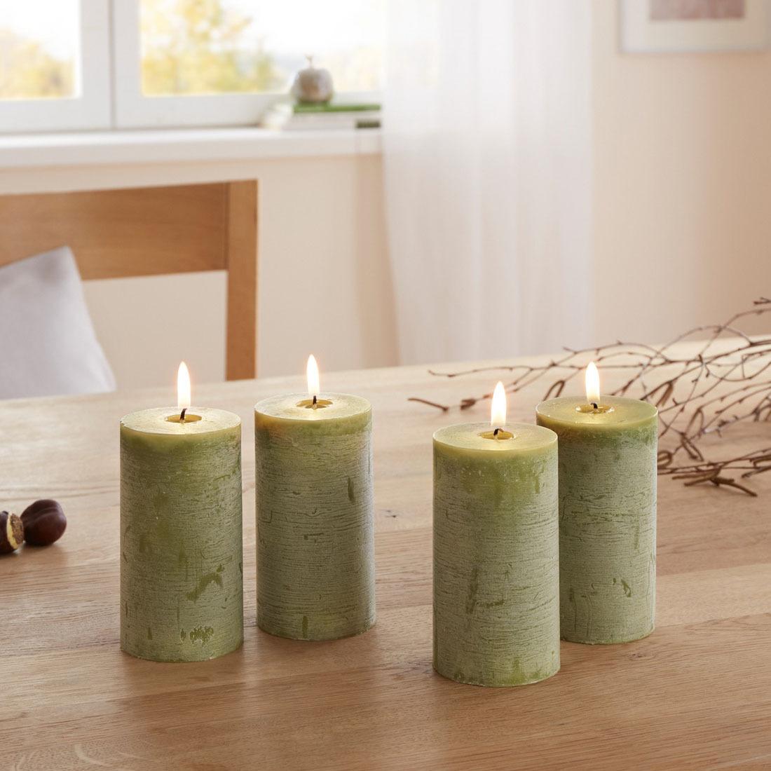 Свечи декоративные Рустикальная зелень, 4 штуки свечи q20tt