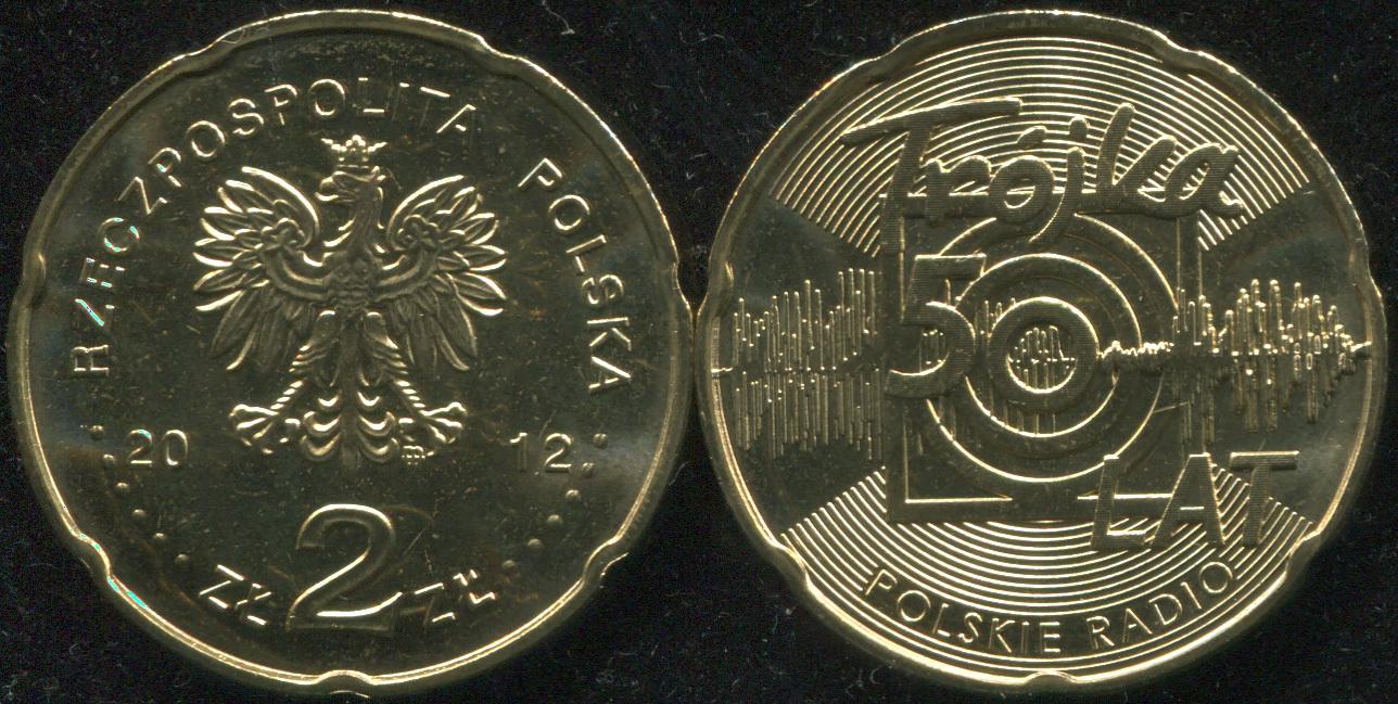 Монета. Польша 2 злотых. 2012 (KM.Y.816. Unc) 50-летие PRT Program 3 на польском радио