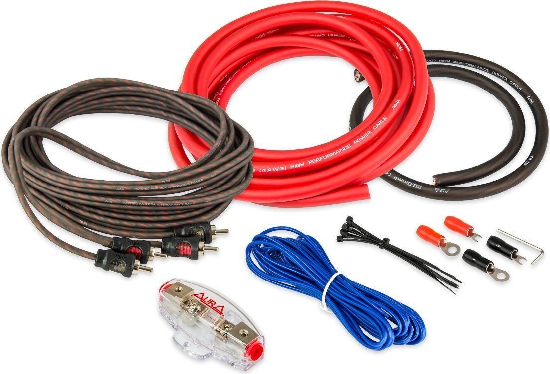 Комплект кабелей для усилителя Aura AMP-1204, 2х4AWG, красный