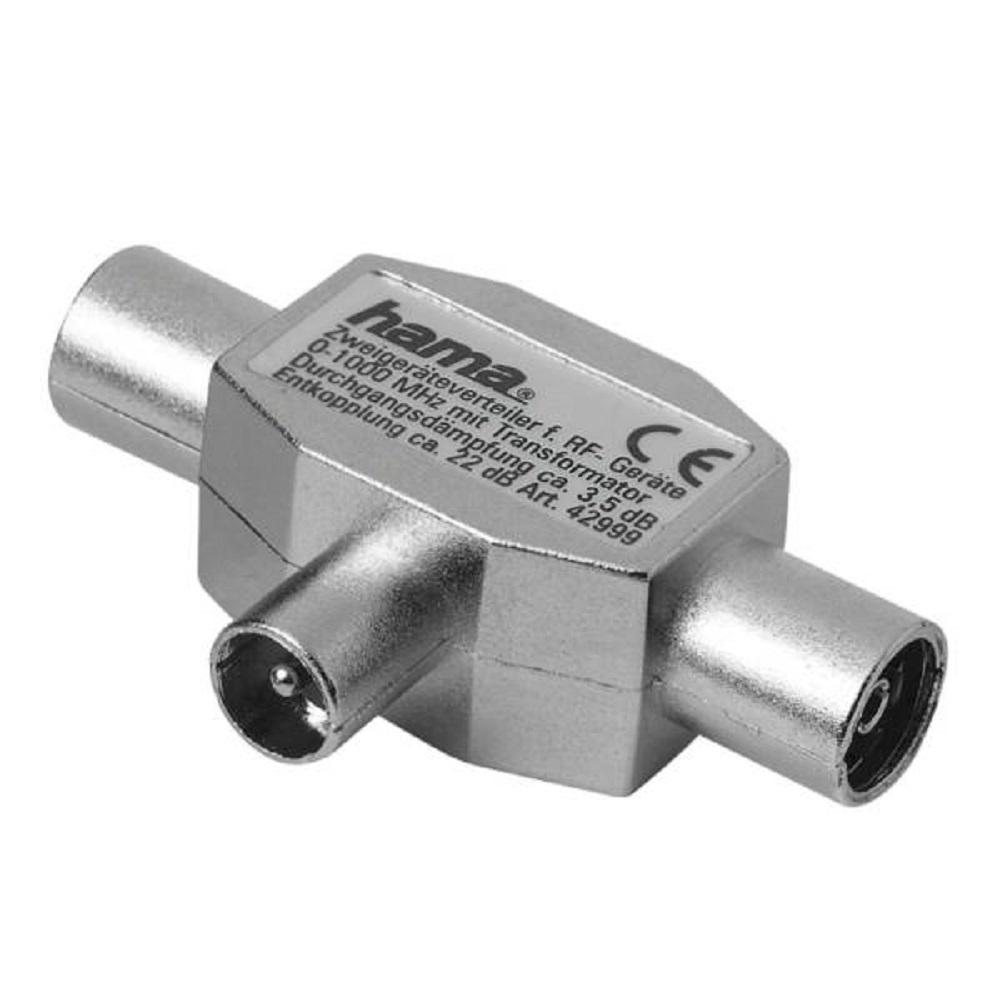 Антенный разветвитель Hama 42999 the smart solution 1 (m) - 2 (f) коаксиальный штекер 3зв, металл
