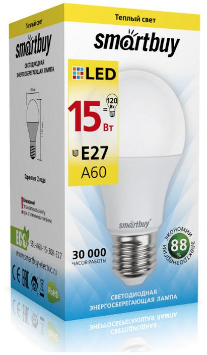 Лампочка SmartBuy SBL-A60-15-30K-E27, Теплый свет 15 Вт, Светодиодная
