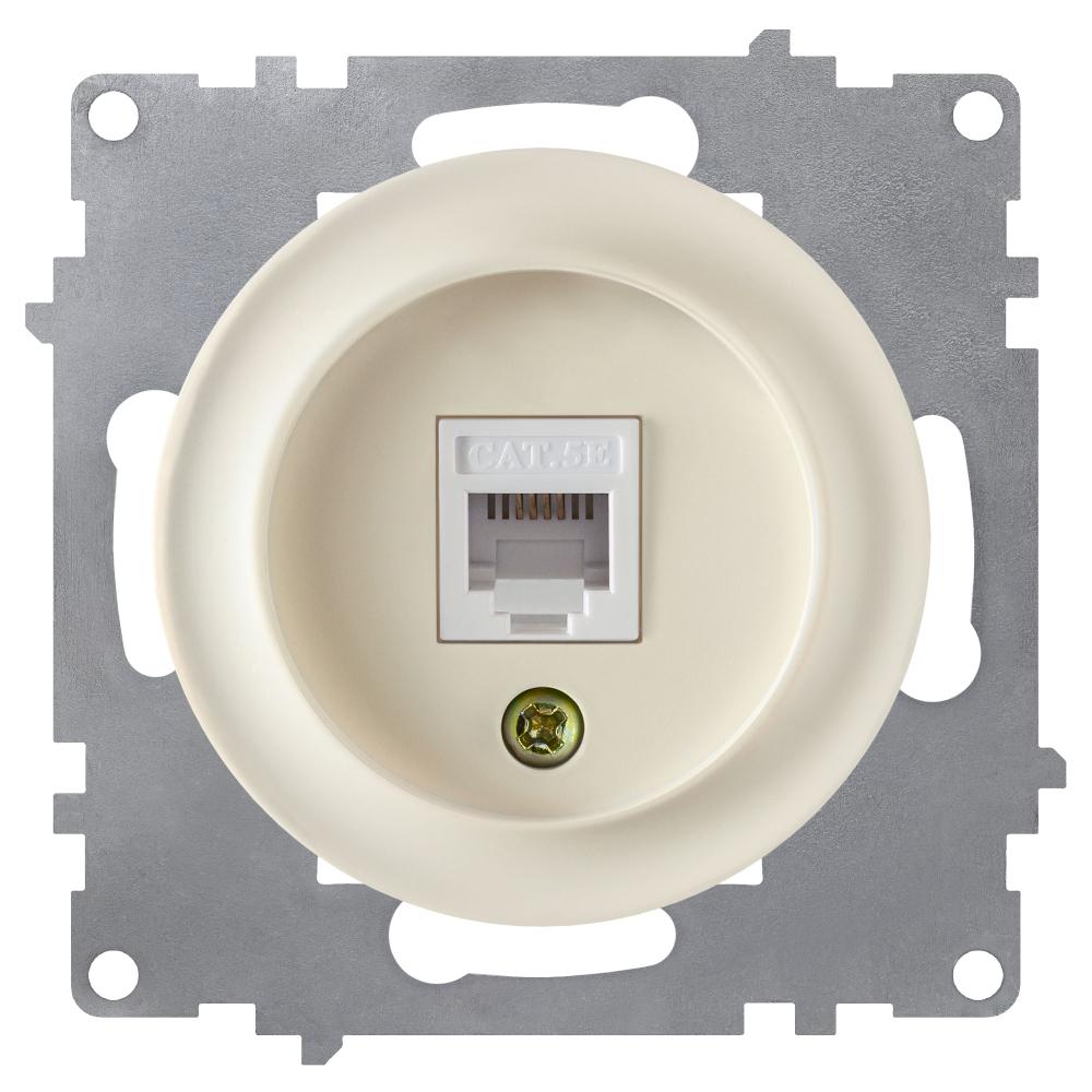 Розетка компьютерная OneKeyElectro 1xRJ45 5e, цвет бежевый