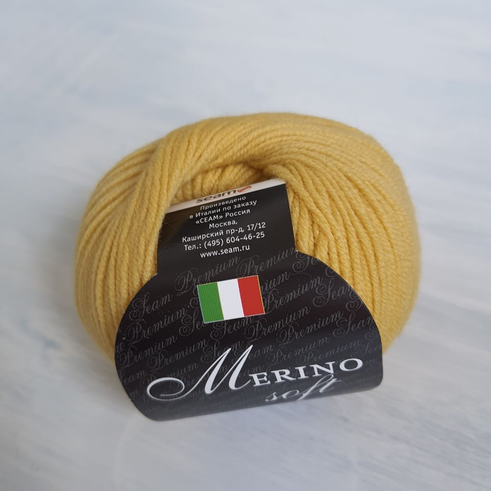 Пряжа Merino soft Seam цвет 08 горчичный, 145м/50г, 100% мериносовая шерсть суперфайн