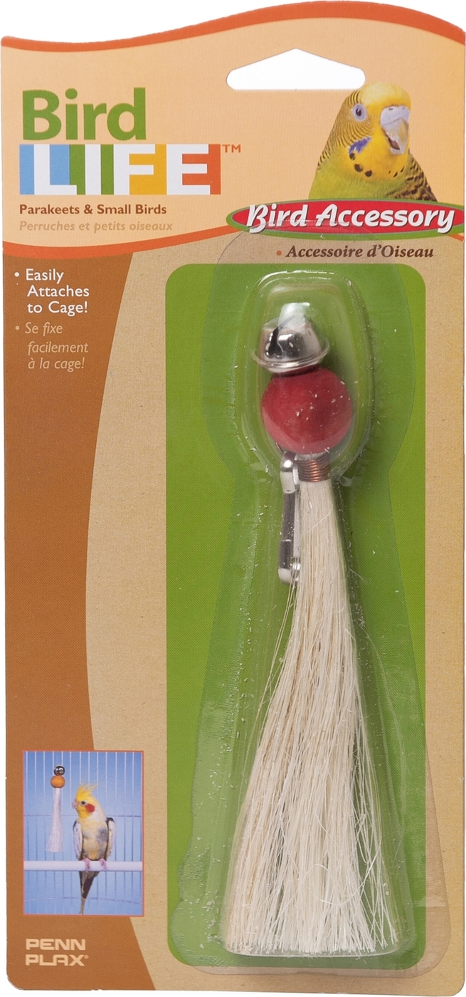 """игрушка для птиц penn-plax """"кисточка с бубенчиком"""", большая"""