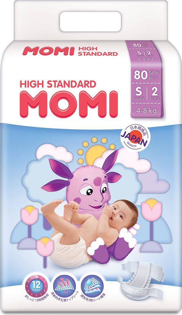 Подгузники Momi High Standard, размер S, 4-8 кг, 80 шт #1
