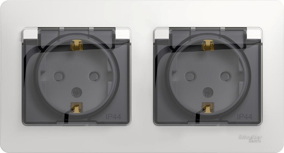 Розетка Schneider Electric Glossa двойная с заземлением с защитными шторками влагозащищенный IP44 белый #1
