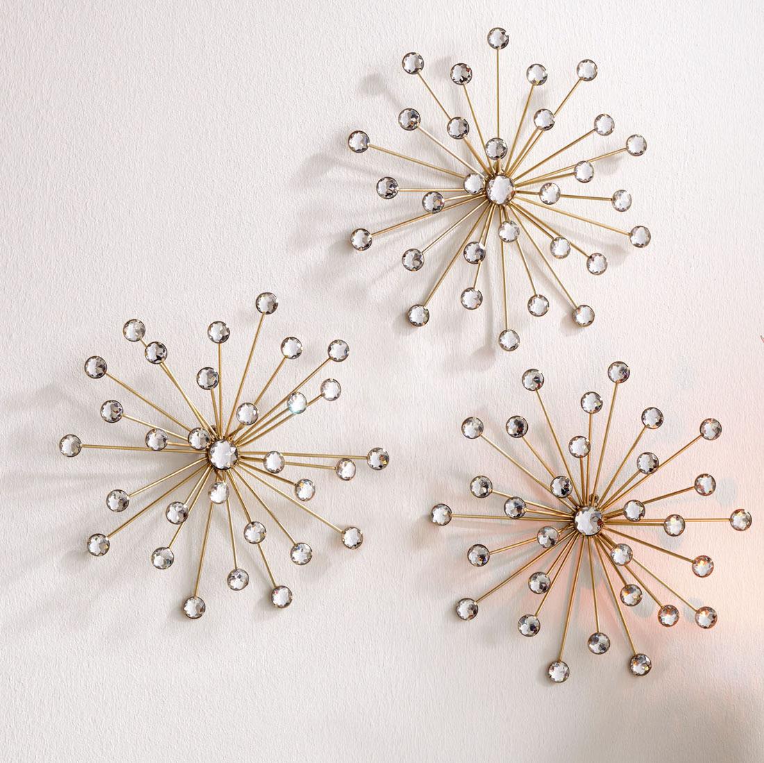 """Настенные украшения """"Цветы-кристаллы"""", 3 штуки #1"""