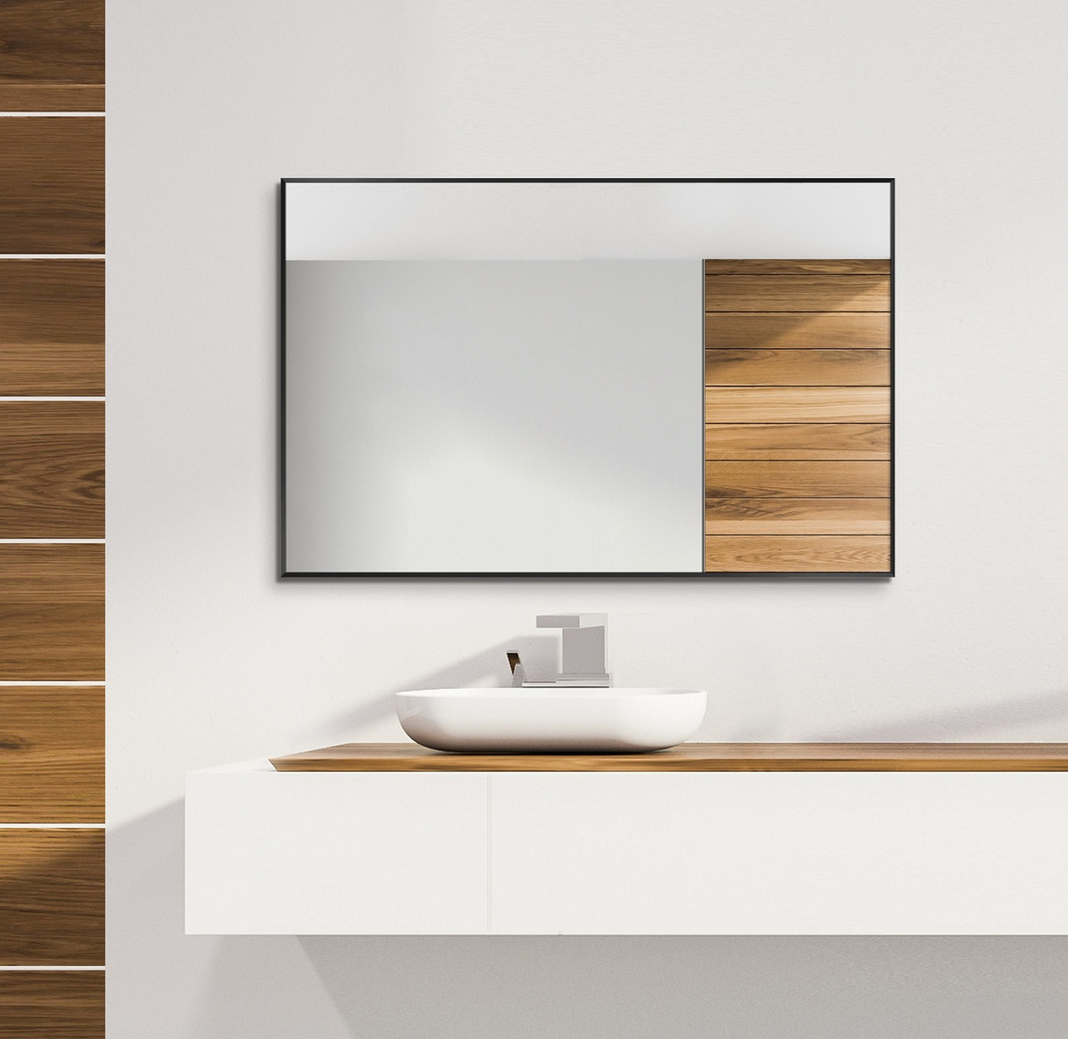 """Зеркало настенное, Зеркало интерьерное TODA ALMA """"Цвет рамы- черный"""", 81 см х 92 см, 1 шт  #1"""