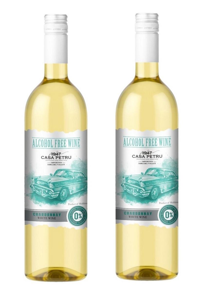 """Вино безалкогольное Casa Petru (Каса Петру) Шардоне"""" 0,75 белое сладкое, набор из 2-ух штук, Молдавия #1"""