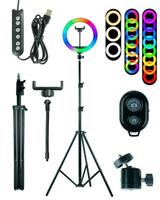 Кольцевая LED-лампа 26 см zKissfashion RGB цветная со штативом держателем для телефона и селфи-пультом. Модель 123267. Аксессуары для смартфонов