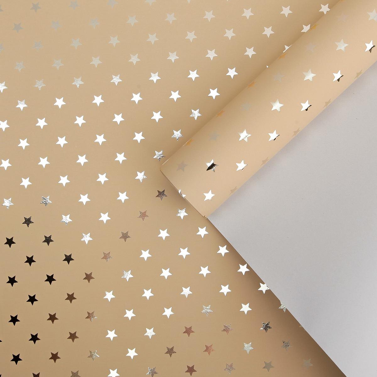 Бумага упаковочная Plastiflora & Florima, метализированная, 3888708, кремовый, золотой, 50 см х 5 м