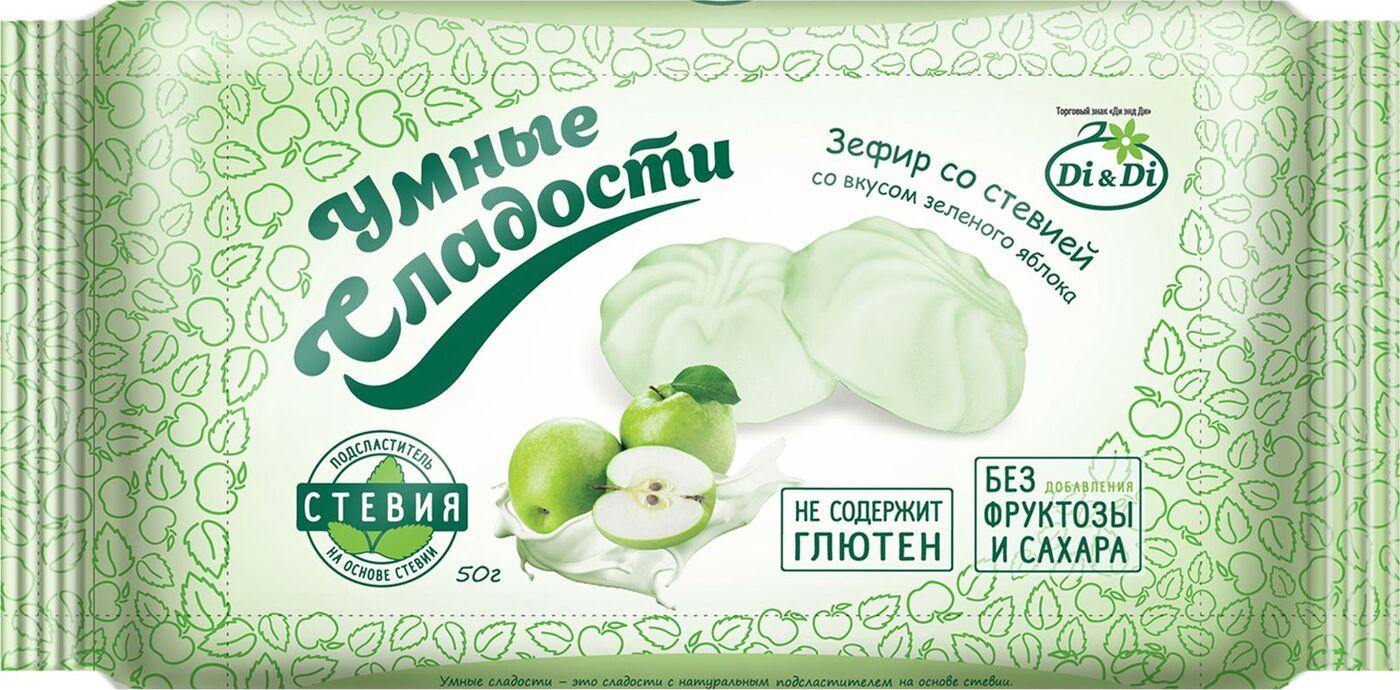 Зефир Умные сладости, со вкусом зеленого яблока, 50 г