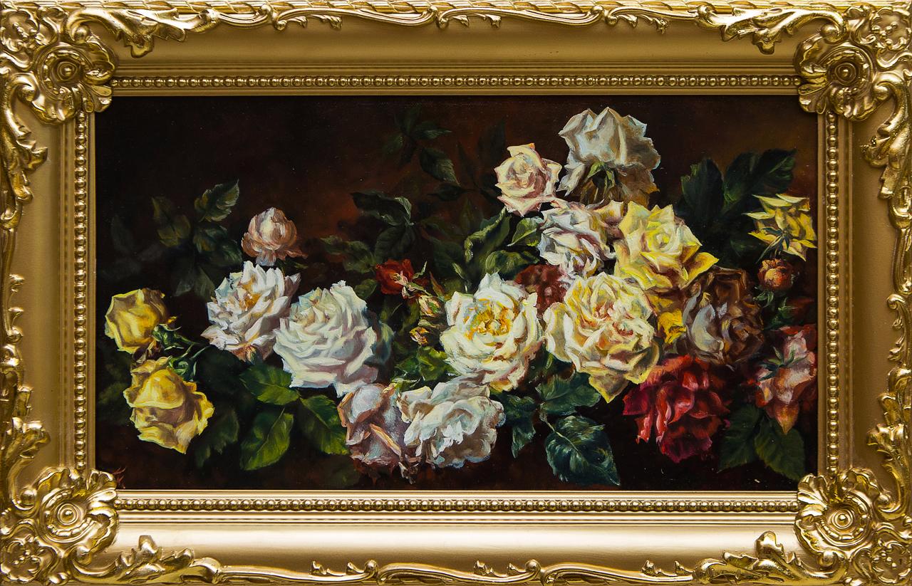Картина маслом Розы белые Якущенко картина маслом вид с университетской набережной белые ночи воробьев