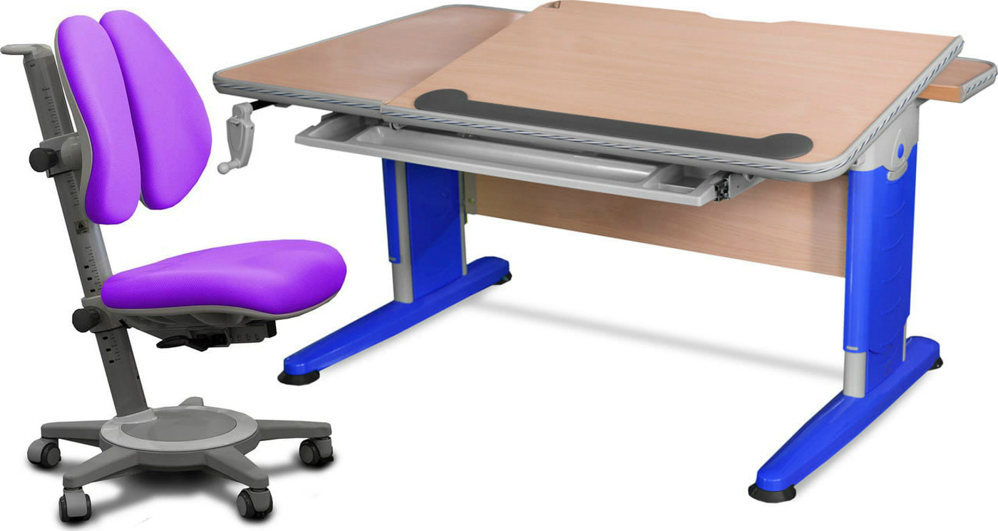 Комплект Mealux Стол Detroit с креслом Cambridge Duo и прозрачной накладкой на парту 65х45