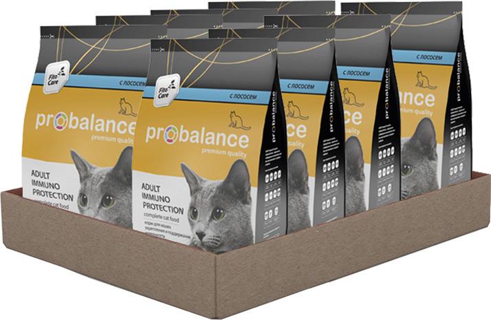 Сухой корм для кошек Probalance Immuno Protection с лососем, 8 шт. х 400 г