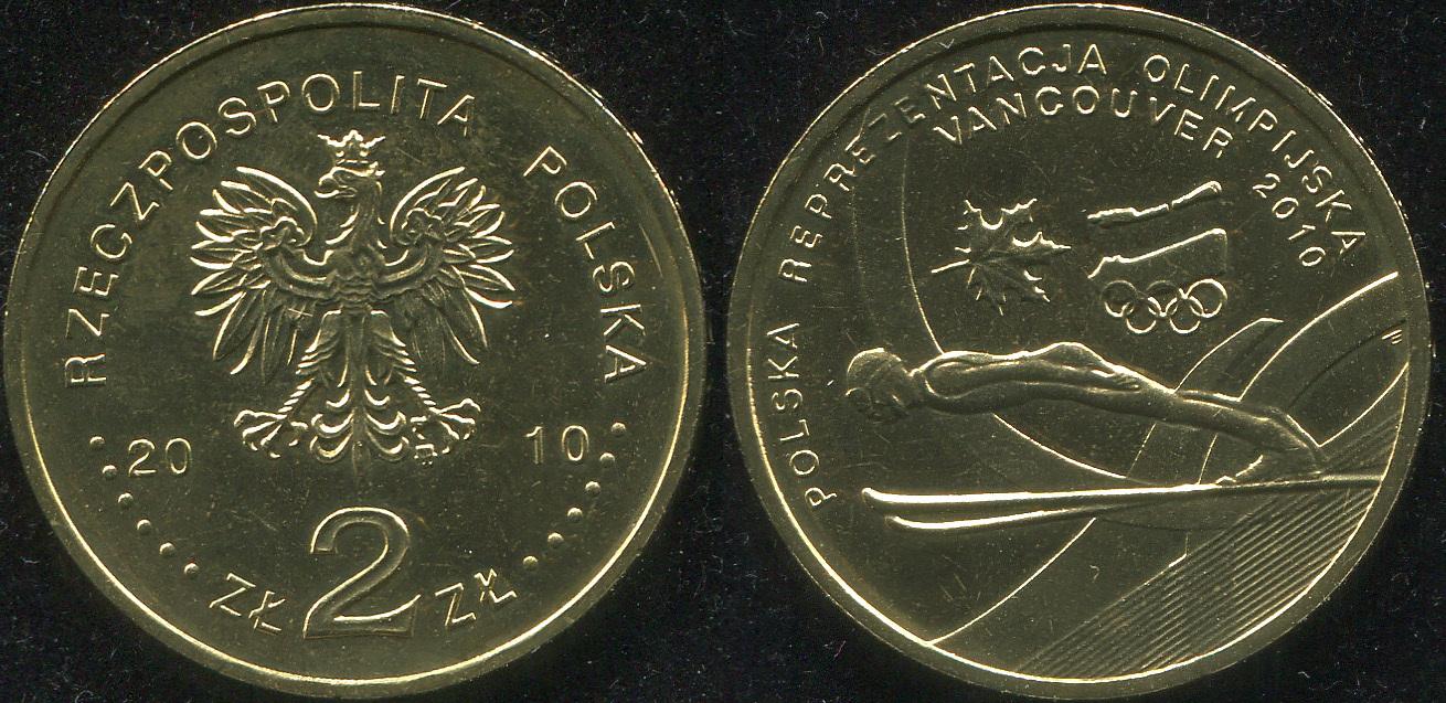 Монета. Польша 2 злотых. 2010 (KM.Y.715. Unc) Польская сборная на Олимпиаде в Ванкувере. 2010