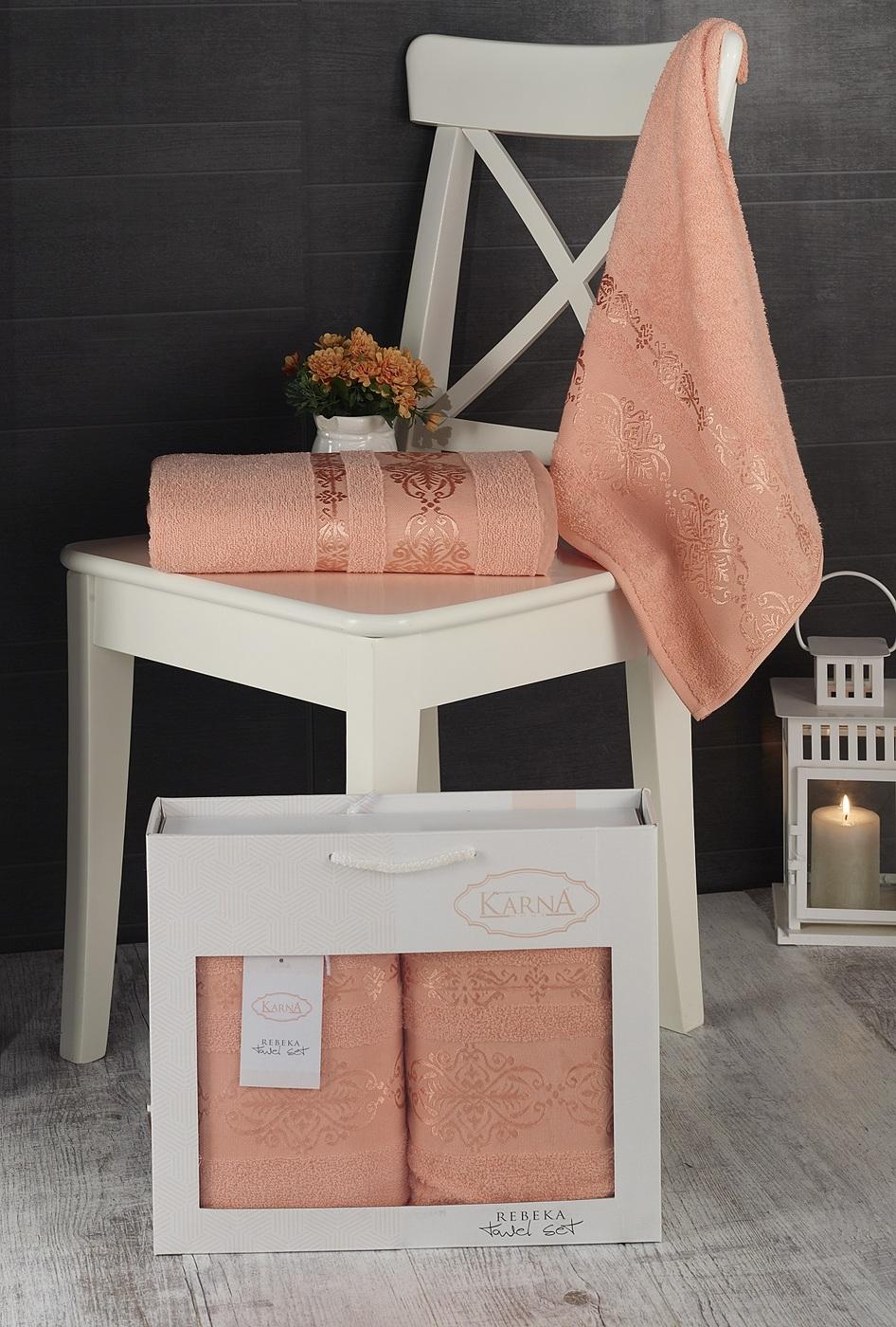 Набор банных полотенец Karna Rebeka Хлопок, 70x140 см, абрикосовый