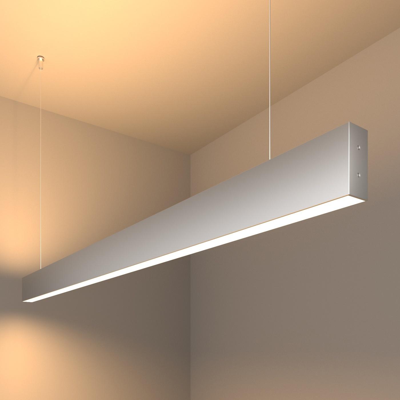 101-200-40-128 / Линейный светодиодный подвесной двусторонний светильник 128см 50W 3000K матовое серебро