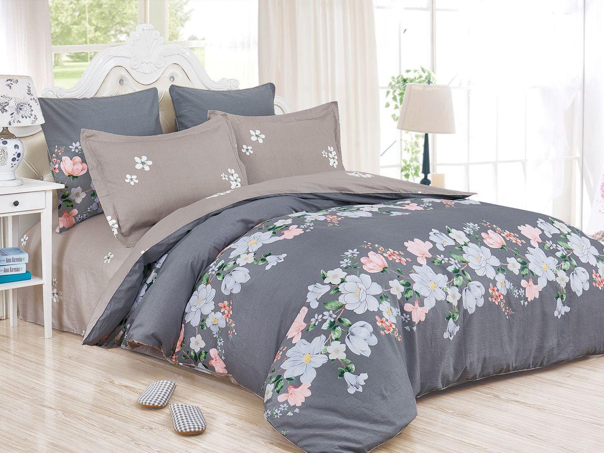 Комплект постельного белья Cleo Satin de' Luxe Лауро, 20/533-SK, серый, 2-спальный, наволочки 70x70