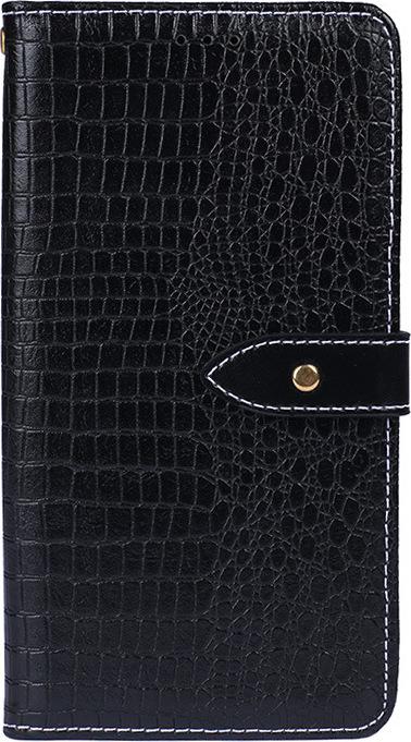 Чехол-книжка MyPads для Oppo A9 (2020)/ OPPO A5 2020 с фактурной прошивкой рельефа кожи крокодила с застежкой и визитницей черный