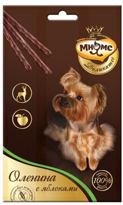 Лакомство для собак Мнямс Деликатес лакомые палочки с олениной и яблоком, 13,5 см, 33 гр