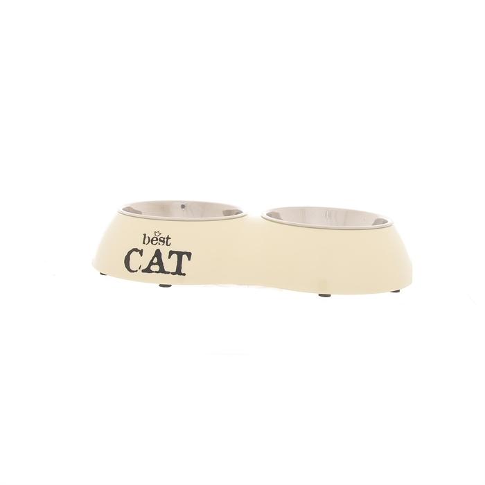 I.P.T.S. 650404 Best Cat Миска 2в1 для кошек двойная бежевая 26,5*15см, 425гр