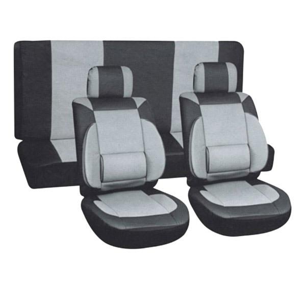 Чехлы автомобильные SKYWAY Protect Plus - 8 экокожа/полиэстер 11 предметов черно/серый