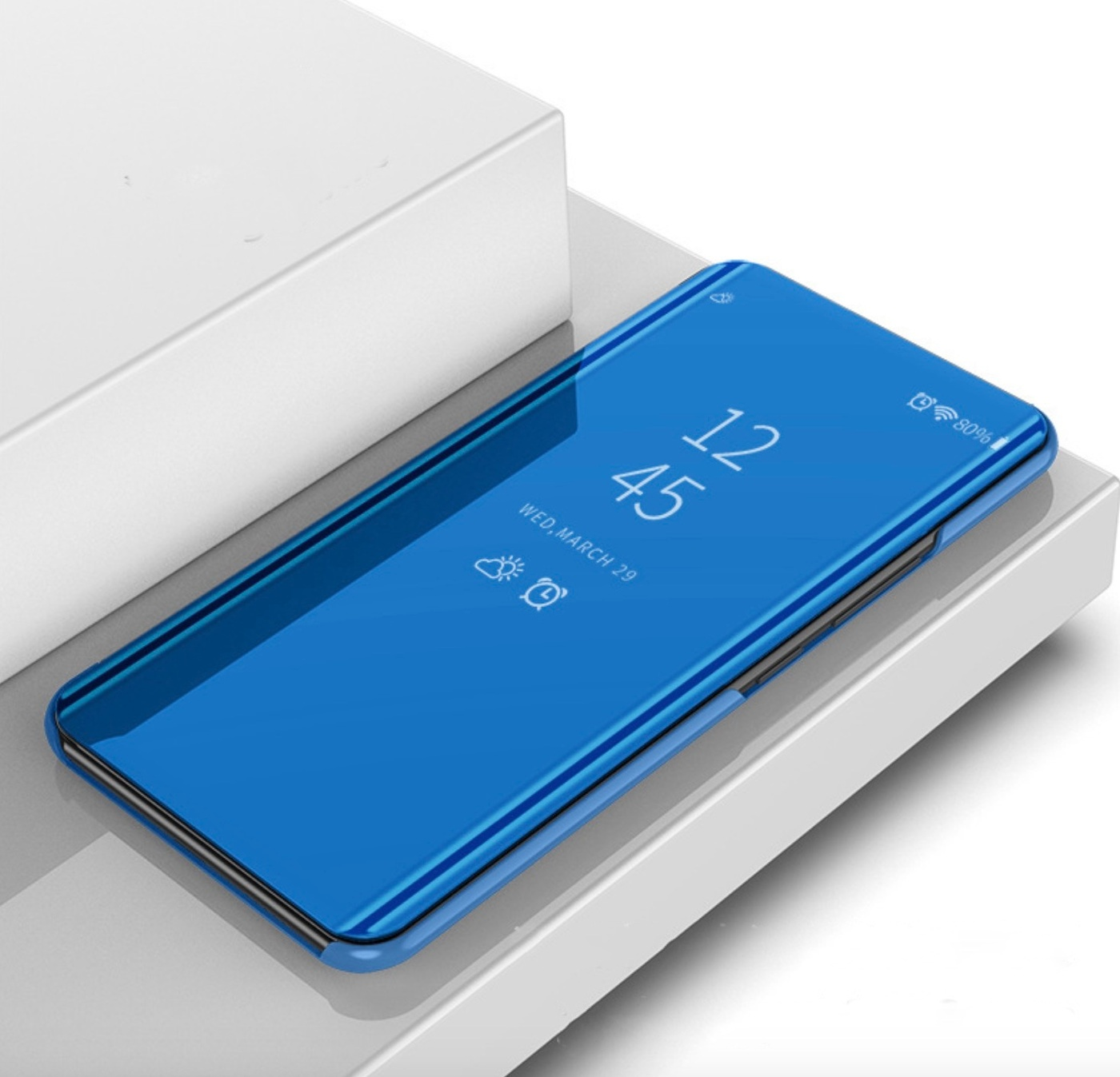 Чехол-книжка MyPads для Oppo A9 (2020)/ OPPO A5 2020 с дизайном Clear View Cover с полупрозрачной пластиковой крышкой с зеркальной поверхностью синий