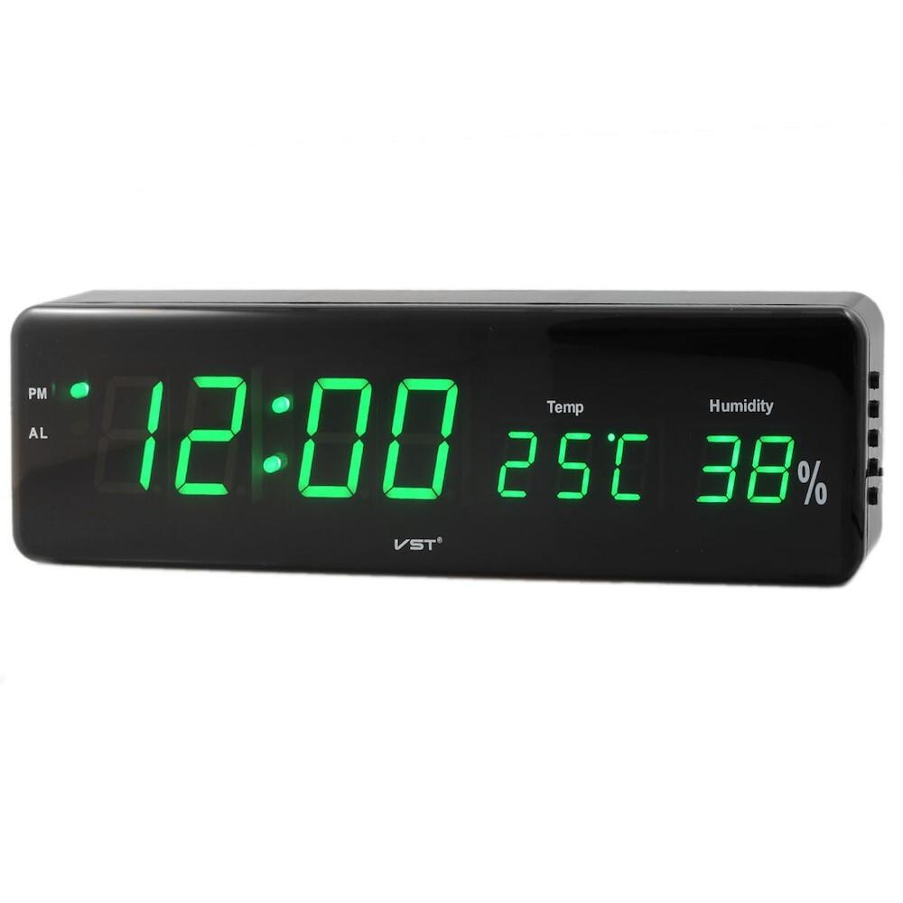 Сетевые часы VST805S-4 часы зел.цифры (температура, влажность)-25/50+блок