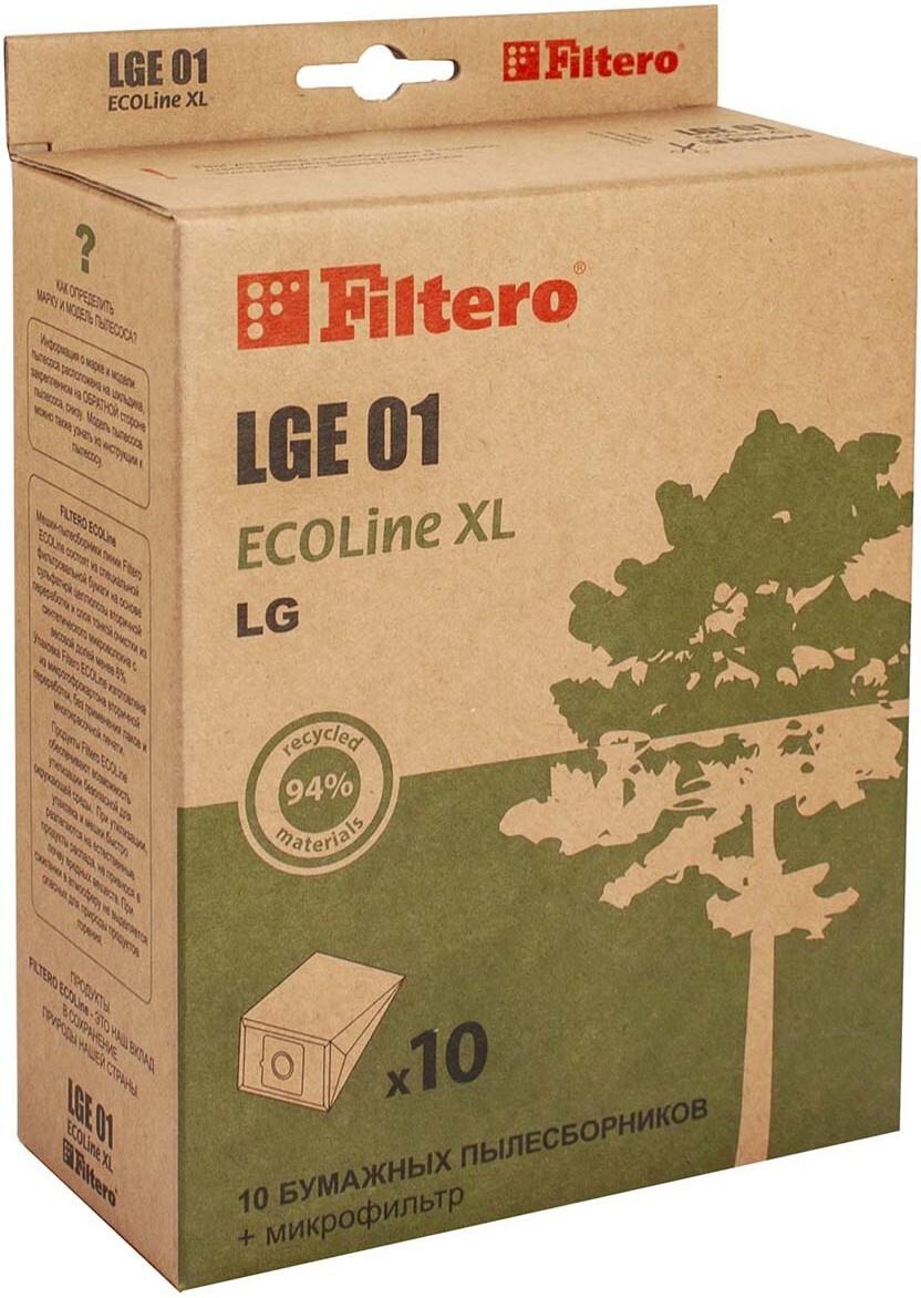 Мешок-пылесборник Filtero LGE 01 ECOLine XL, для LG, Scarlett, бумажный, 10 шт + фильтр  #1