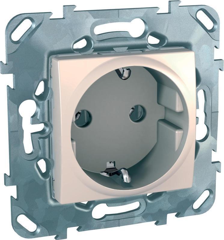 Механизм розетки Schneider Electric Unica с заземлением бежевый #1