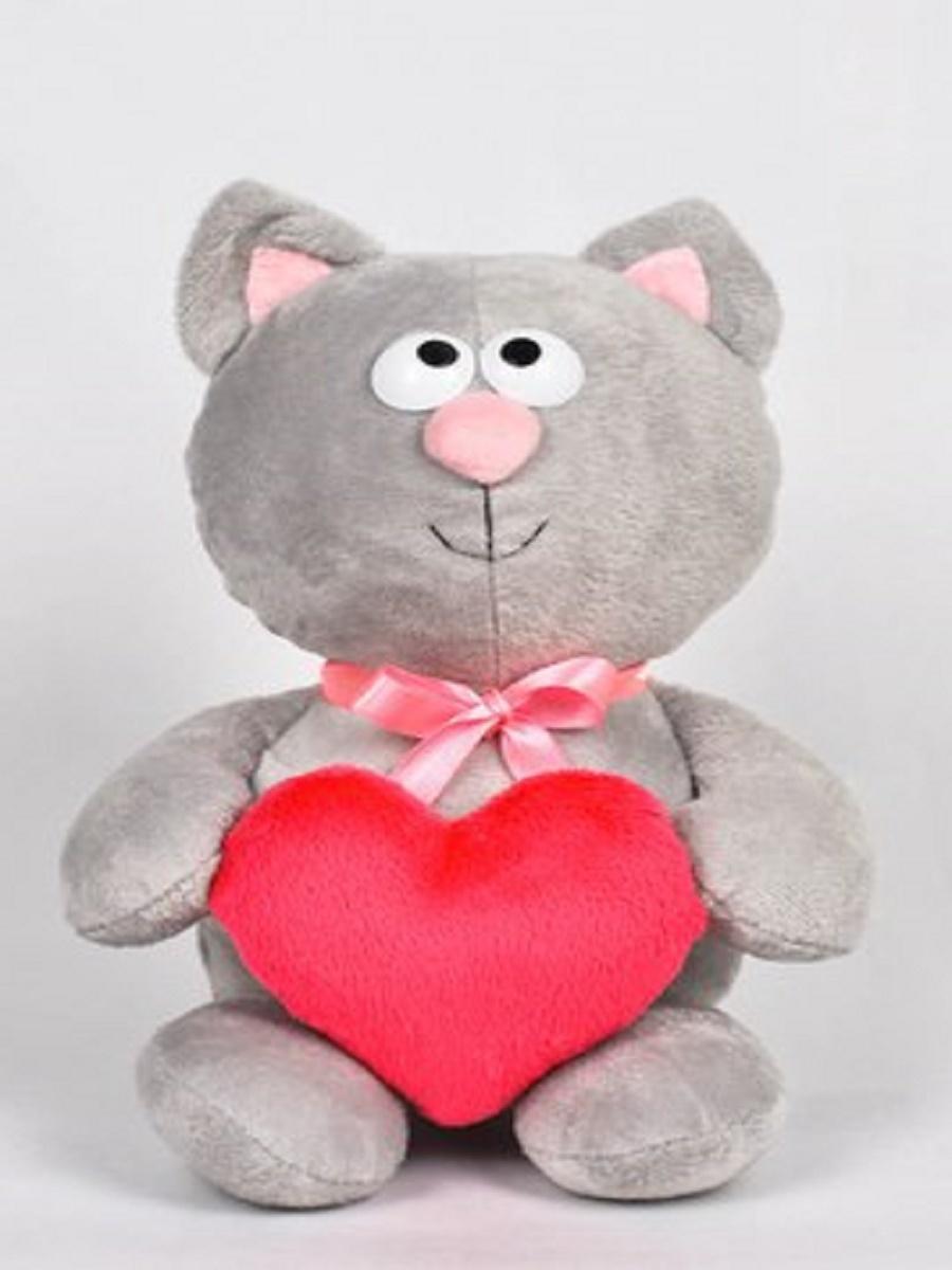 Игрушка Котик с сердцем серый #1