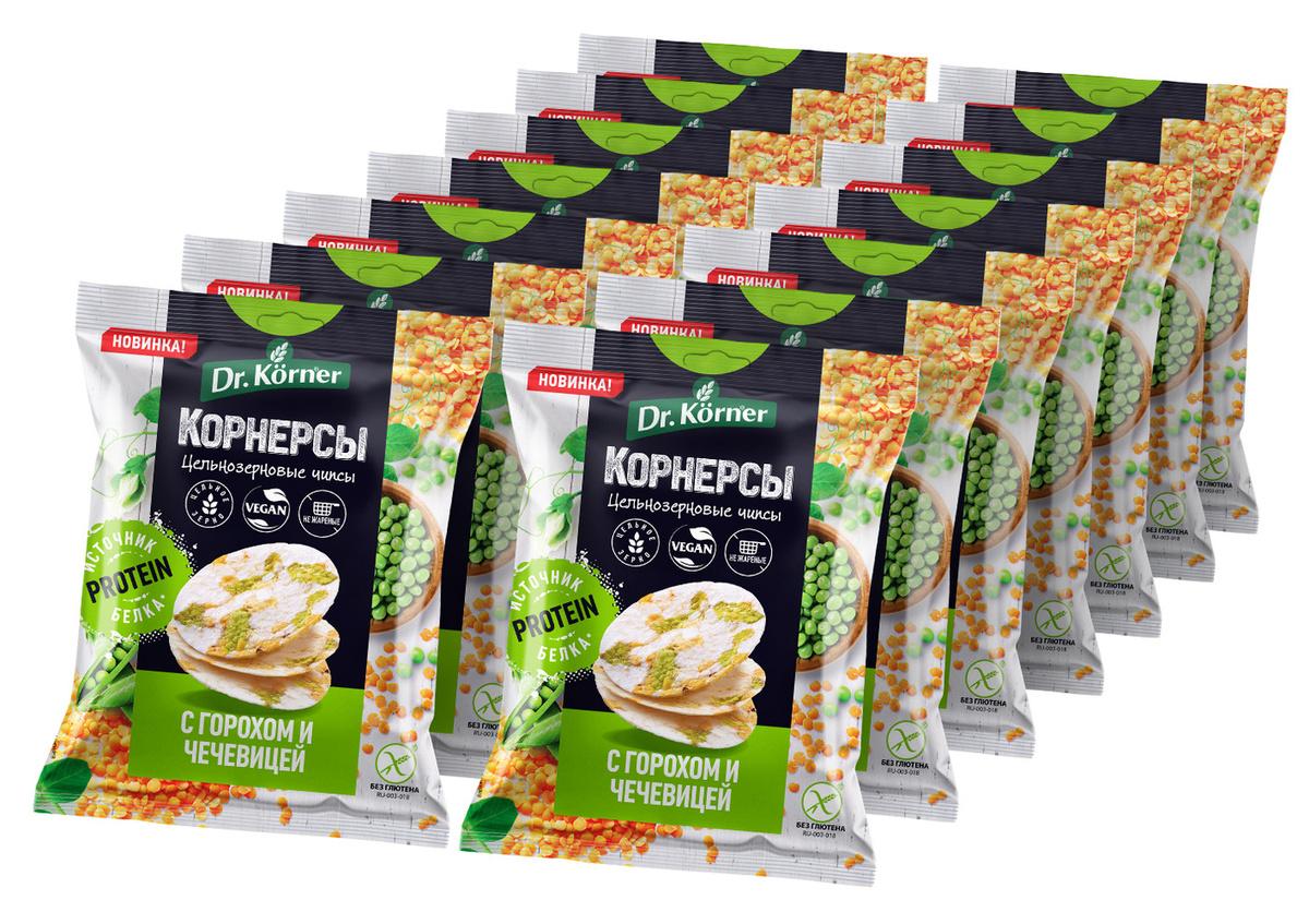 Чипсы цельнозерновые рисовые Dr. Korner c горошком и чечевицей, 50 г х 14 шт  #1