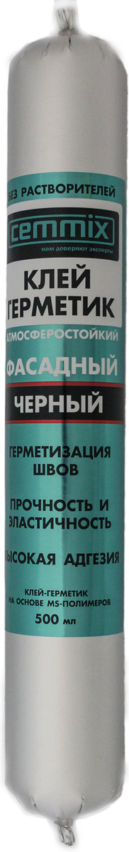 Клей-герметик Cemmix Фасадный универсальный Гибридный 500 мл черный  #1