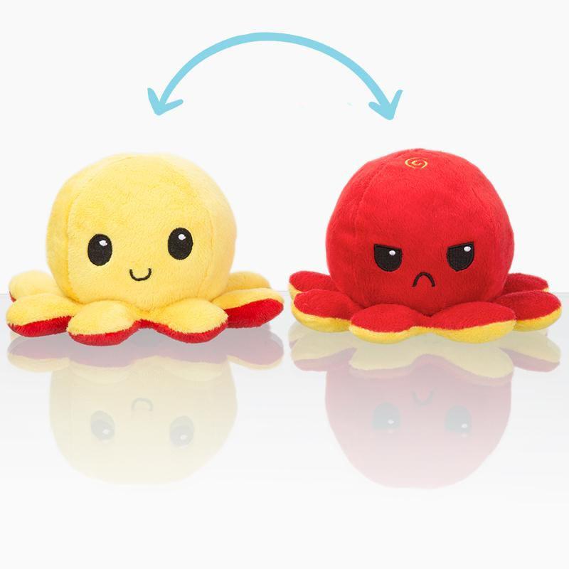 Двусторонняя плюшевая игрушка в виде осьминога, двусторонняя плюшевая игрушка-флип  #1