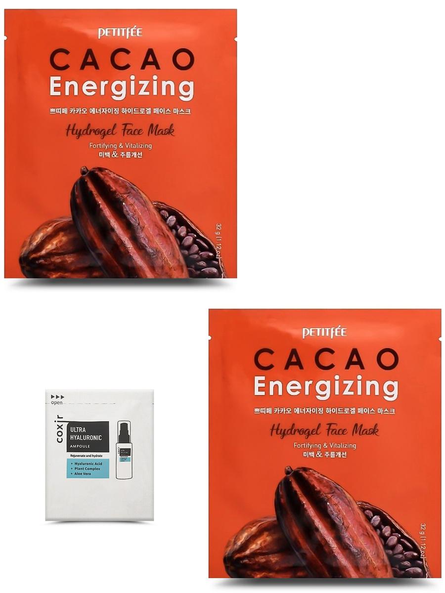 PETITFEE Разглаживающая гидрогелевая маска для лица с экстрактом какао, 32г, *2 шт. + COXIR, Ампульная #1