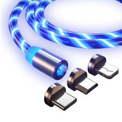 Кабель Магнитный зарядки 3-в-1 (microUSB + type-C + Lightning)для  iPhone/Xiaomi/Samsung/1005 мм, Синий. Хиты продаж