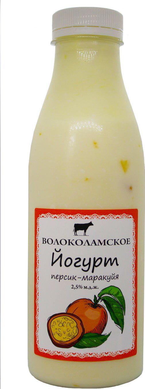 Йогурт питьевой Волоколамское Маракуйя-Персик, фруктовый, 2,5%, 500 г