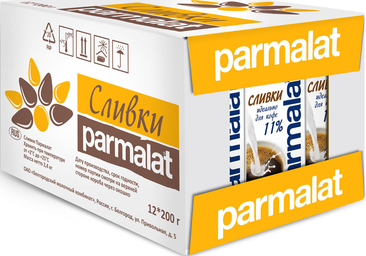 Parmalat сливки ультрастерилизованные 11%, 12 шт по 0,2 л заказать сливки